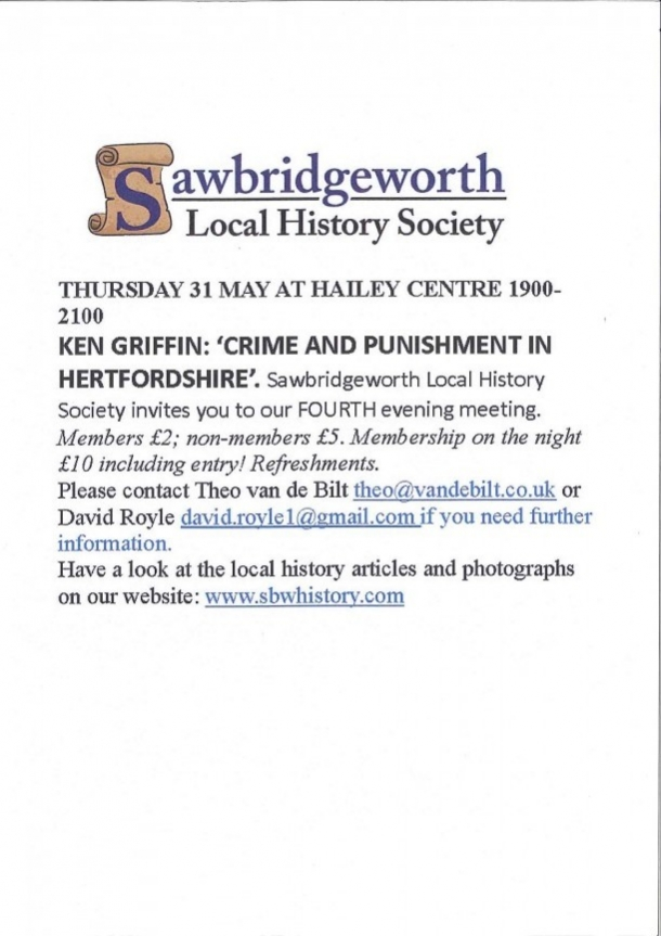 Sawbridgeworth Local History Society - Evening Meeting