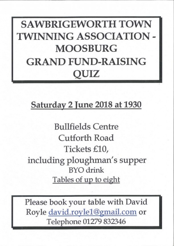 Sawbridgeworth Town Twinning Association (Moosburg) Grand Fundraising Quiz