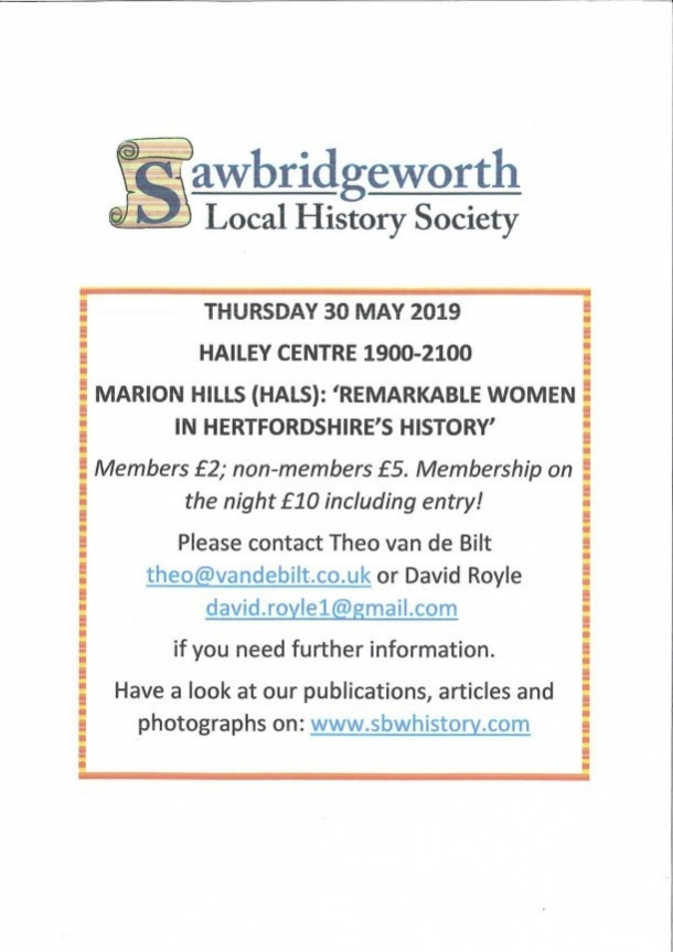 Sawbridgeworth Local History Society evening meeting