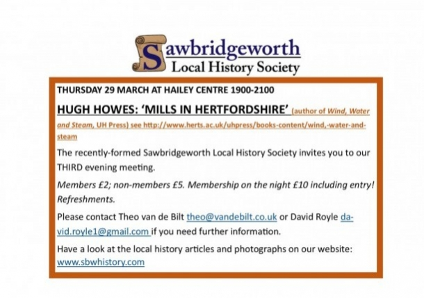 Sawbridgeworth Local History Society evening meeting.